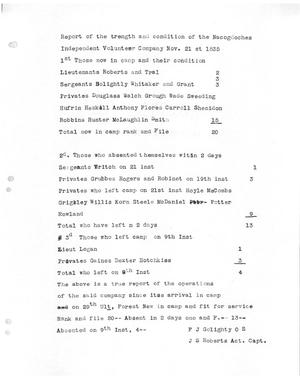 Primary view of [Transcript of report from the Nacogdoches Independent Volunteer Company, November 21, 1835]