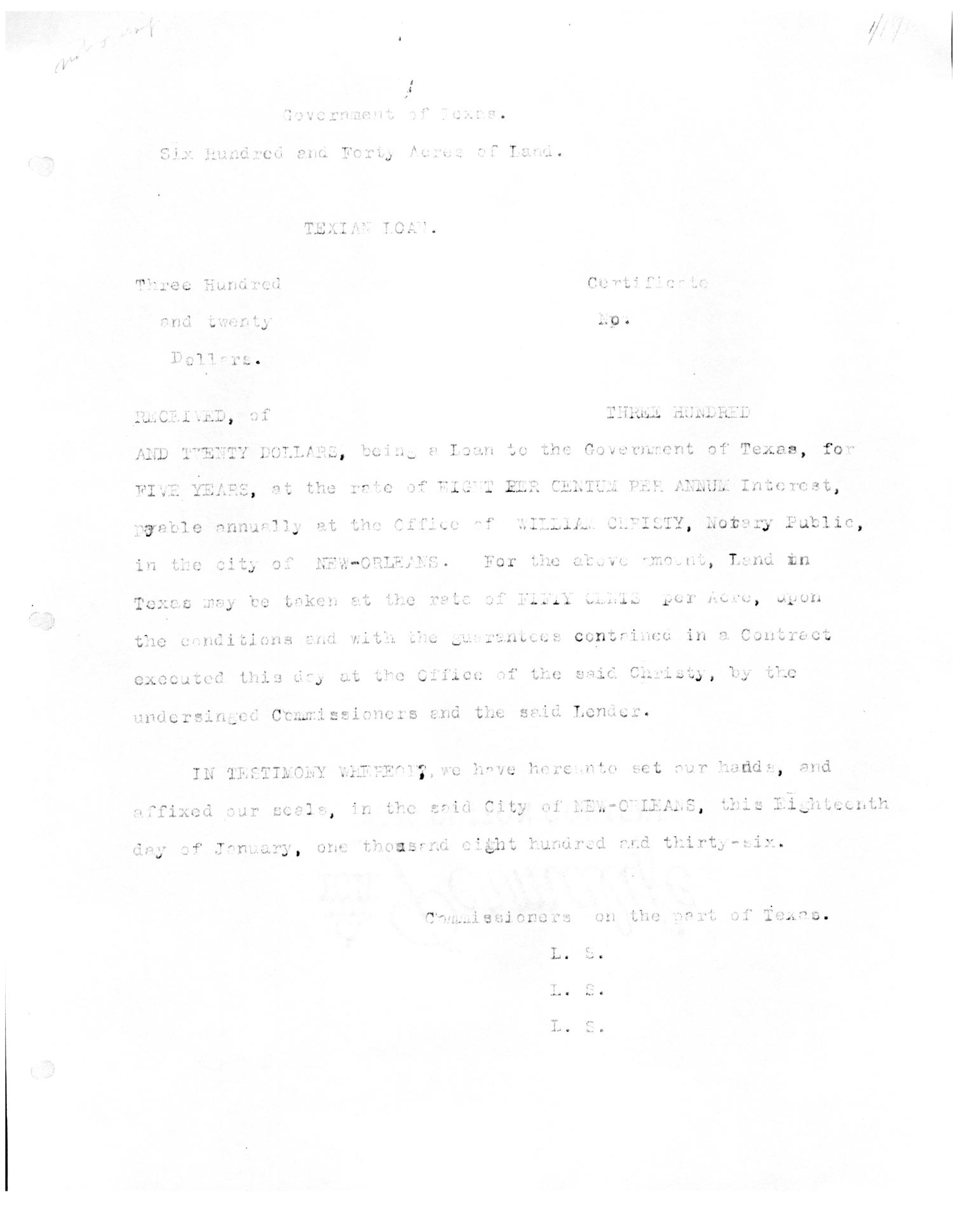 [Transcript of promissory note for the Government of Texas, January 18, 1836]                                                                                                      [Sequence #]: 1 of 1