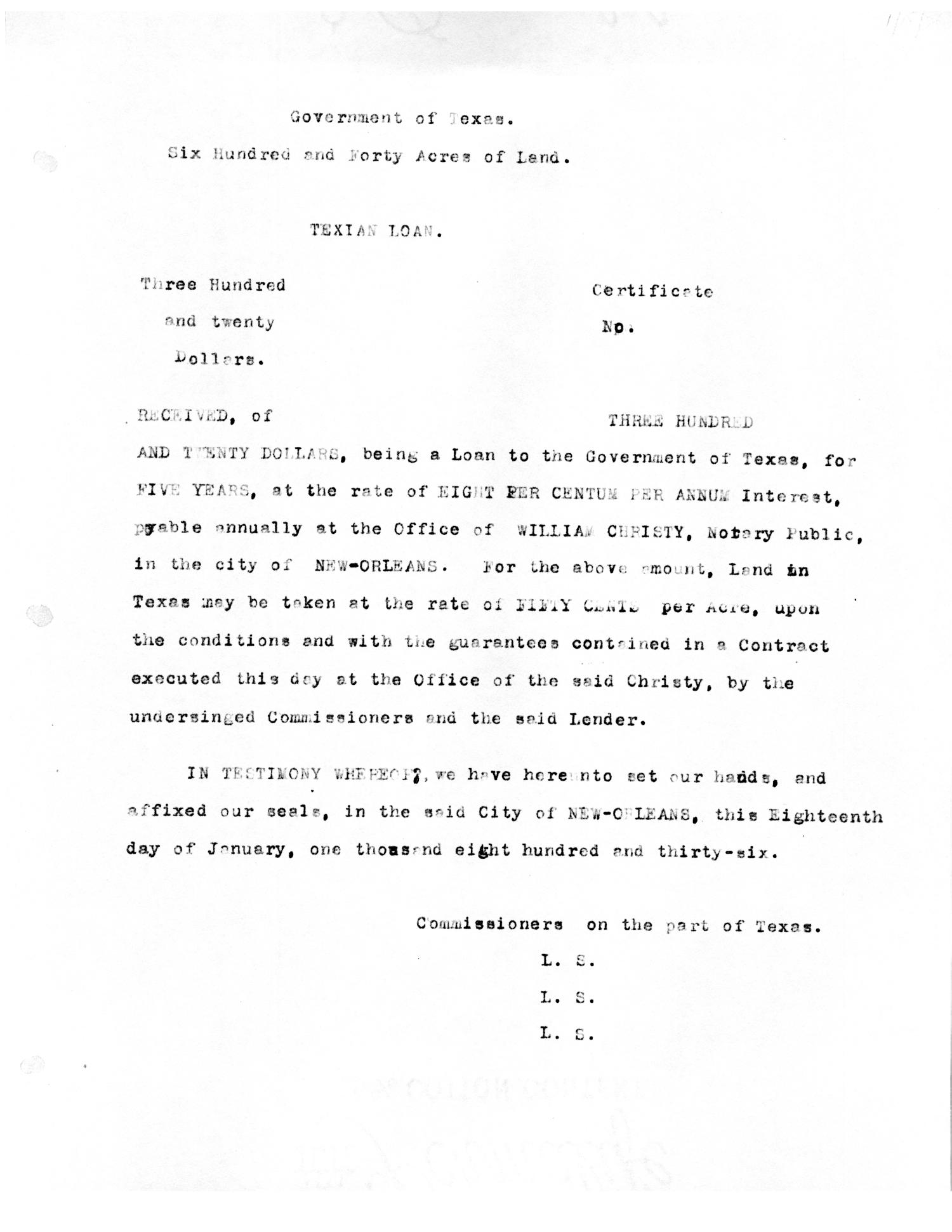 [Transcript of promissory note for the Government of Texas ...