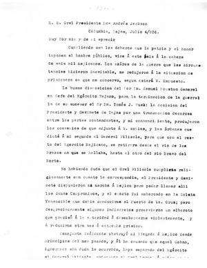Primary view of [Transcript of letters from Antonio López de Santa Anna to President Andrew Jackson and General José de Urrea, July 4, 1836]