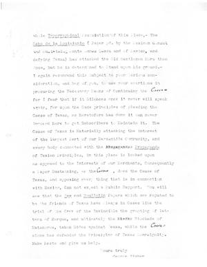 Primary view of object titled '[Transcript of an excerpt from a letter from George Fisher, no date]'.