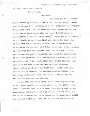 Primary view of [Transcript of letter from James F. Perry to John A. Merle and Co., January 28, 1837]