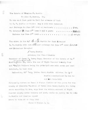 Primary view of object titled '[Transcript of a legal document recording the history of a loan made to Stephen F. Austin by John P. Austin]'.