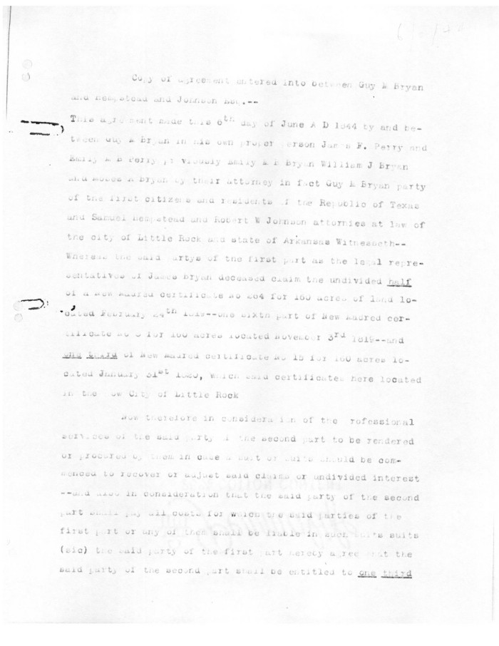Transcript Of Copy Of Agreement Entered Into Between Guy M Bryan