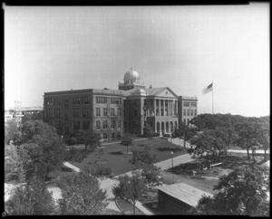 [Administration Building and flagpole at Texas Woman's University]