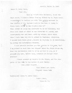 Primary view of [Transcript of Letter from James Webb to James F. Perry, September 5, 1848]