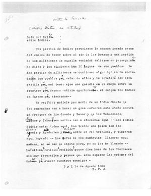 Primary view of [Transcript of Letter from Stephen F. Austin to José Antonio Saucedo, August 14, 1826]