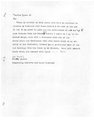 Primary view of object titled '[Transcript of Letter to Charles Lynch Jr.]'.