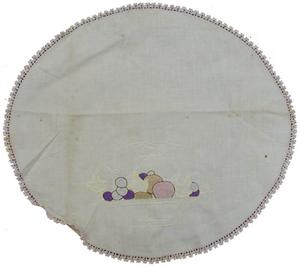 Primary view of object titled '[Round table cloth with purple edges]'.