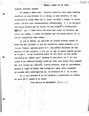 Primary view of [Transcript of Letter from Juan Martín de Veramendi to Stephen F. Austin, May 15, 1828]