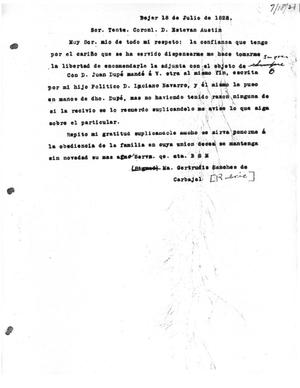 Primary view of [Transcript of Letter from María Gertrudis Sánchez de Carbajal to Stephen F. Austin, July 18, 1828]