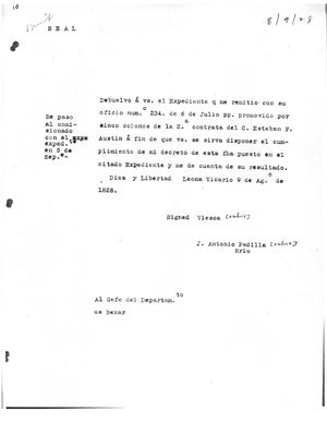 Primary view of [Transcript of Letter from Agustín Viesco to José Antonio Padilla, August 9, 1828[