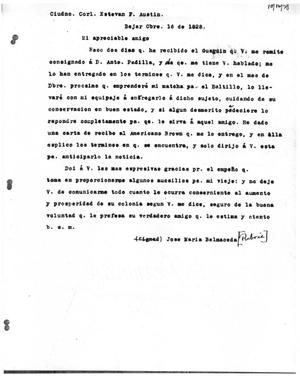 Primary view of object titled '[Transcript of Letter from José María Balmaceda to Stephen F. Austin, October 16, 1828]'.