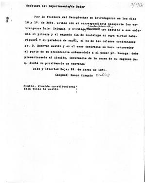 Primary view of [Transcript of Letter from Ramón Músquiz, on March 29, 1831]