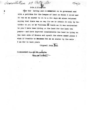 Primary view of [Transcript of Letter from John Teal to Stephen F. Austin, October 29, 1831]