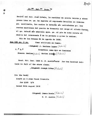 Primary view of [Transcript of Letter from J. Mariano Lopez, August 24, 1832]