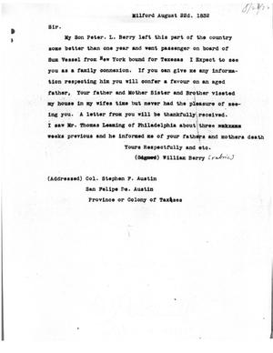 Primary view of [Transcript of Letter from William Berry to Stephen F. Austin, August 22, 1832]