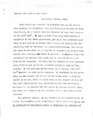 Primary view of [Transcript of Extract from a Letter from Texas, March 7, 1834]