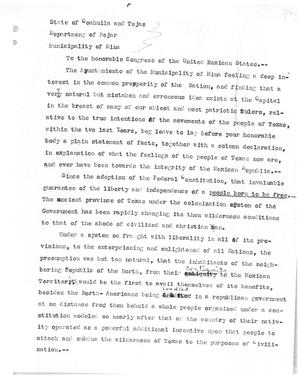 Primary view of [Transcript of Letter from the Members of the Ayunamiento of Mina to The Congress of the United Mexican States, July 23, 1834]