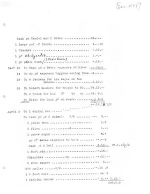 Primary view of object titled '[Transcript of Account for Moses Austin, December, [1897]]'.