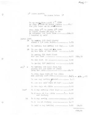Primary view of [Transcript of Account for Moses Bates payable to Moses Austin, March 1800]