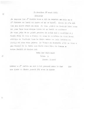 Primary view of [Transcript of Letter from Pierre Menard, August 27, 1801]