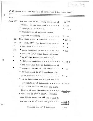 Primary view of [Transcript of Account for Moses Austin Payable to John F. Merieult, May 14, 1802]