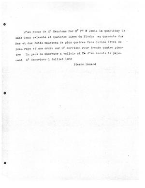 Primary view of [Transcript of Letter from Pierre Menard, July 1, 1803]