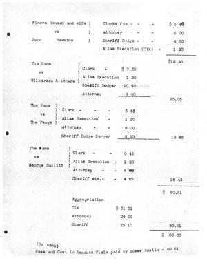 Primary view of object titled '[Transcript of Fees and Cost in Renauts Claim paid by Moses Austin, undated]'.