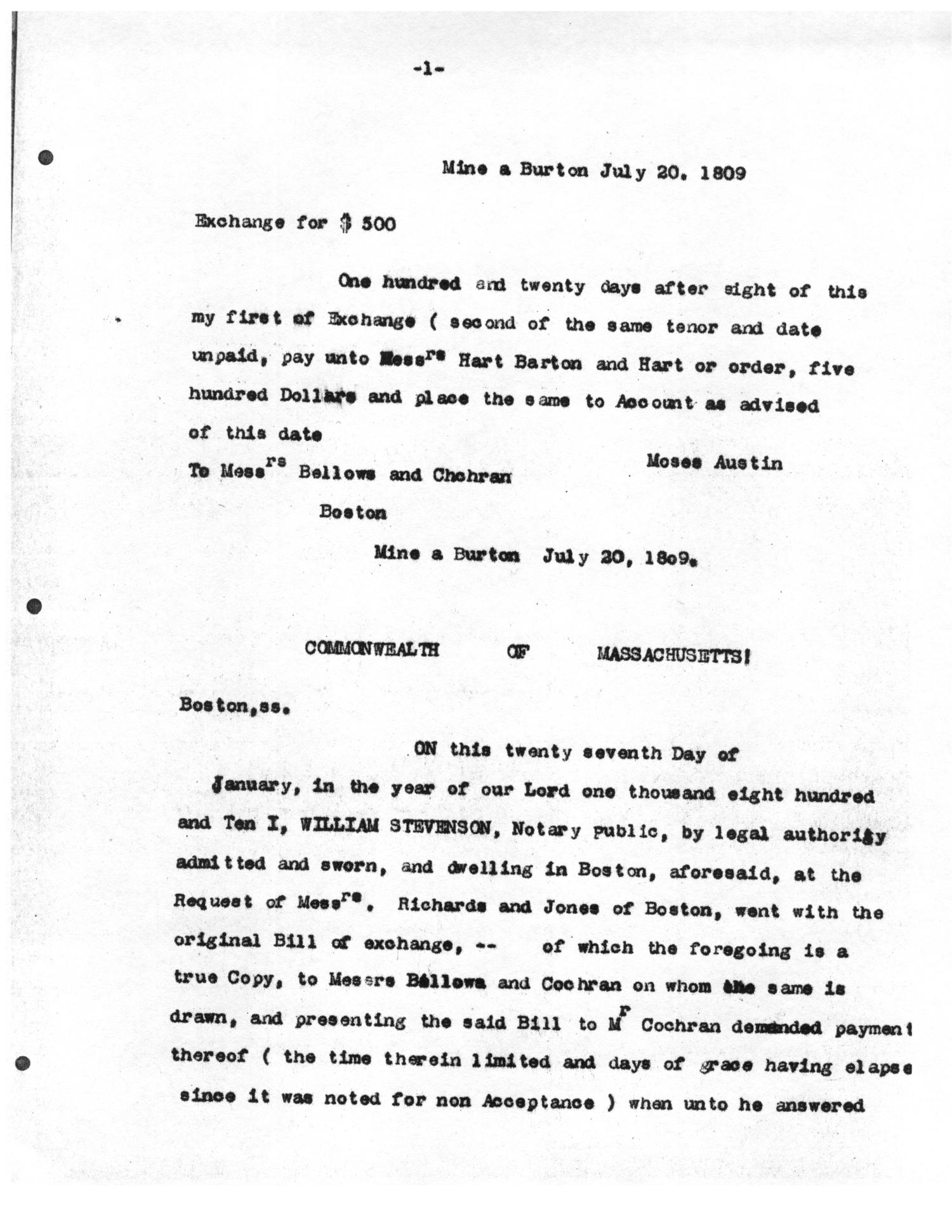 Transcript of notarized bill of exchange from moses austin to transcript of notarized bill of exchange from moses austin to bellows and cochran july 20 1809 the portal to texas history altavistaventures Gallery