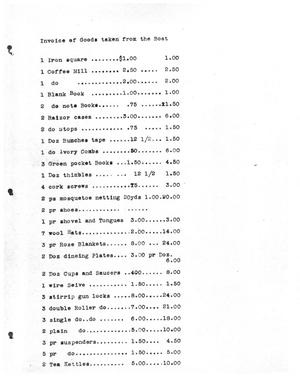 Primary view of [Transcript of an Invoice of Goods Taken from a Boat]