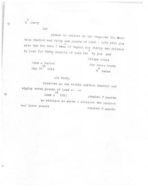 Primary view of [Transcript of Letter from William Bates to James Perry, May 27, 1811]