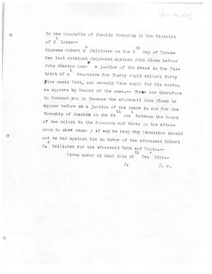 Primary view of [Transcript of Letter from a Justice of the Peace, December 16, 1811]