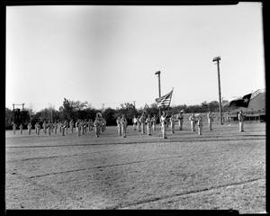Primary view of object titled '[Teacher's College Band poses in formation on field]'.