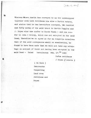 Primary view of [Transcript of Memorandum Regarding Land, February 17, 1820]