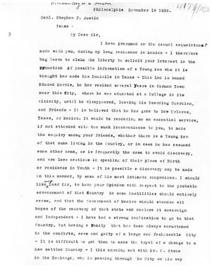 Primary view of [Transcript of Letter from William Heyle to Stephen F. Austin, November 18, 1836]