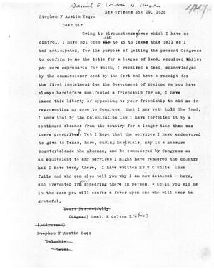 Primary view of [Transcript of Letter from Daniel E. Colton to Stephen F. Austin, November 29, 1836]