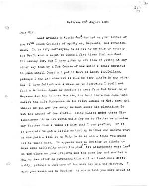 Primary view of [Transcript of letter from M. Ruggles to James Bryan, August 23, 1820]