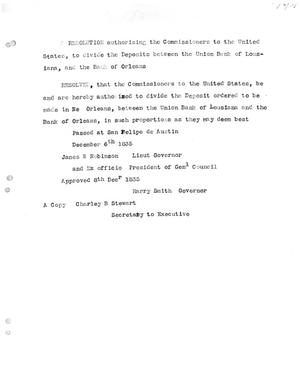 Primary view of [Transcript of resolution passed by Texas Commissioners to the United States, December 8, 1835]