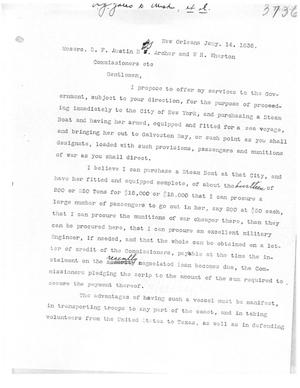Primary view of [Transcript of Letter from A. J. Yates to Stephen F. Austin, Branch T. Archer, and William W. Wharton, January 14, 1836]
