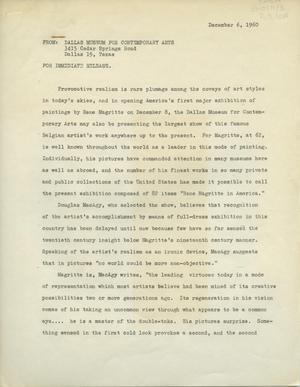 Primary view of object titled '[Press Release for Rene Magritte in America]'.