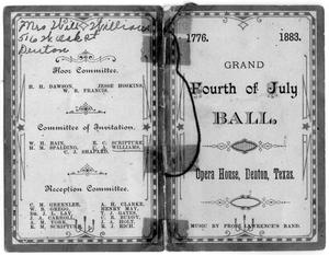 Program for fourth of July ball held in Opera House 1883