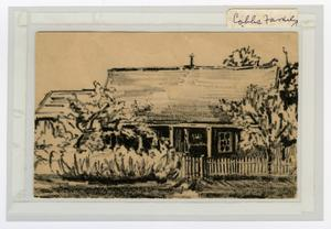 Primary view of object titled 'Sketch of R. E. Cobbs rent house by Mary Jane Edwards Blackburn'.