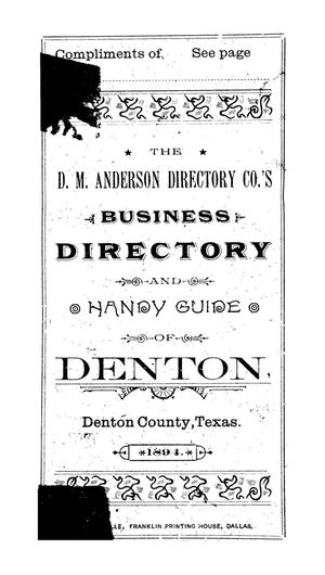 Primary view of object titled '1894 Denton Business Directory and Handy Guide'.