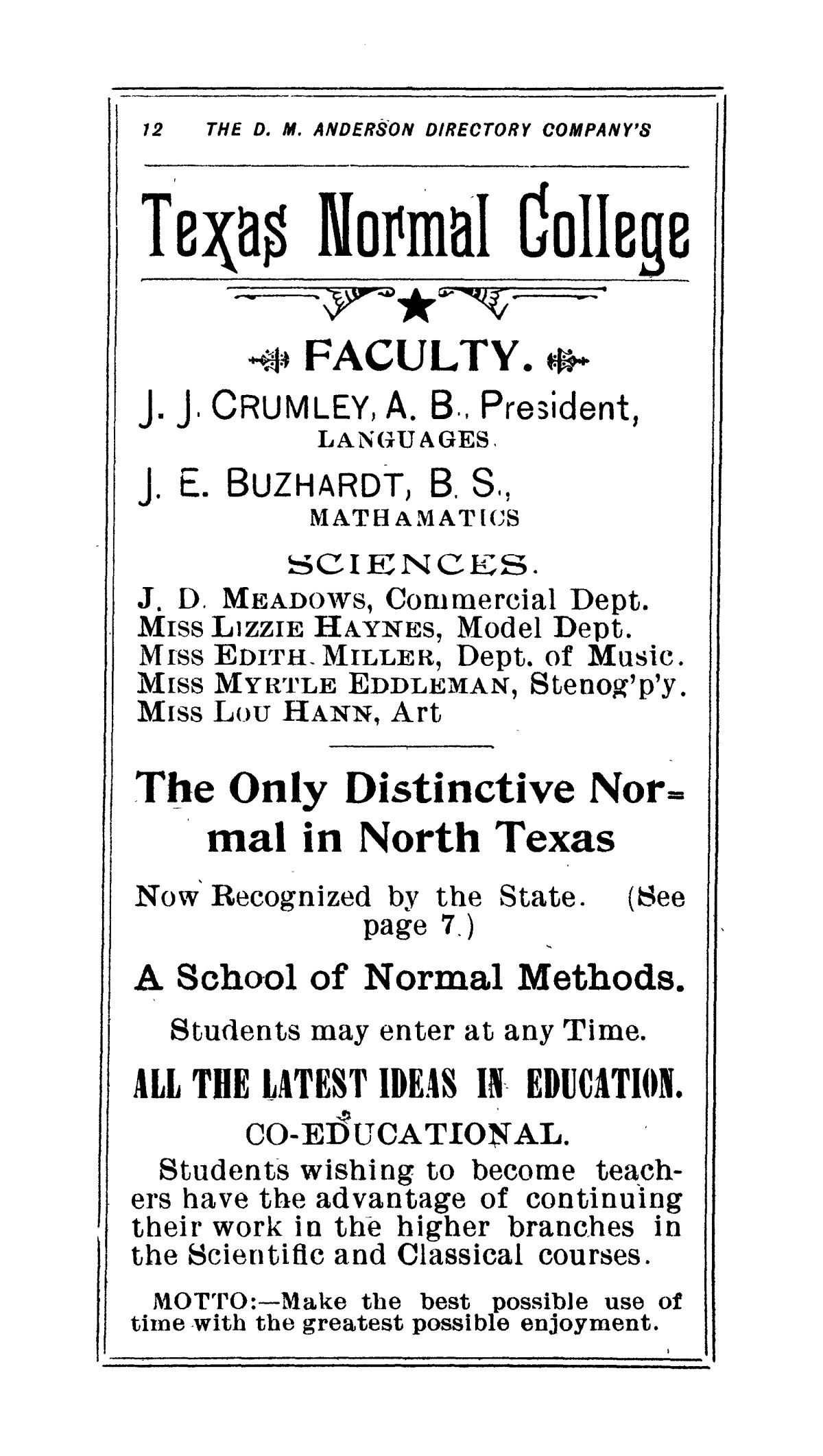1894 Denton Business Directory and Handy Guide                                                                                                      [Sequence #]: 14 of 72