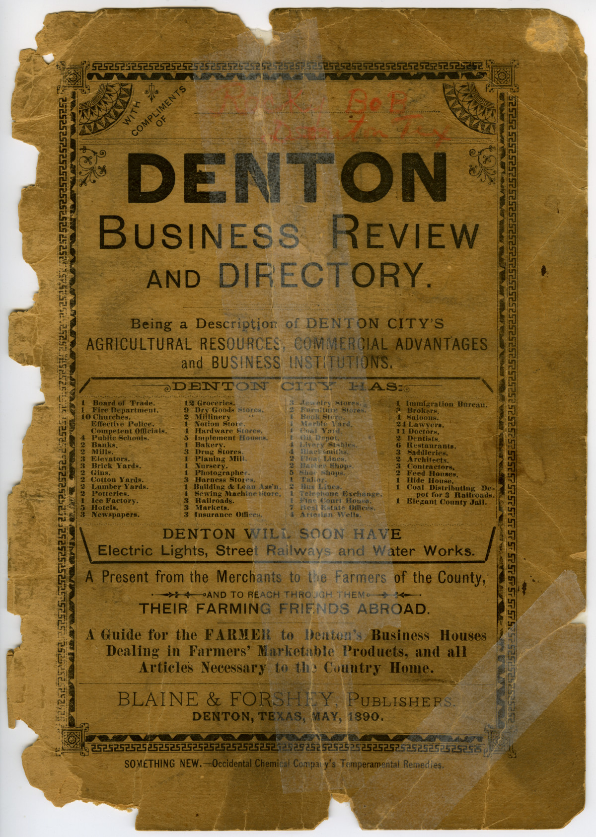 [1890] Denton Business Review and Directory                                                                                                      [Sequence #]: 1 of 43