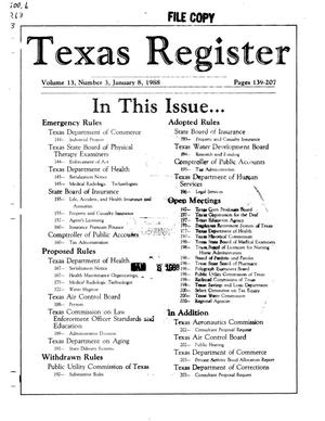 Primary view of object titled 'Texas Register, Volume 13, Number 3, Pages 139-207, January 8, 1988'.