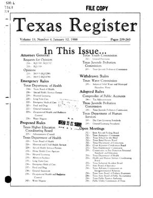 Primary view of object titled 'Texas Register, Volume 13, Number 4, Pages 209-263, January 12, 1988'.