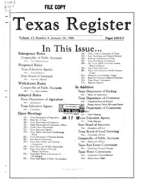 Primary view of object titled 'Texas Register, Volume 13, Number 8, Pages 429-517, January 26, 1988'.