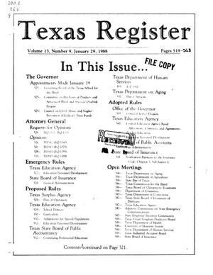 Primary view of object titled 'Texas Register, Volume 13, Number 9, Pages 519-568, January 29, 1988'.